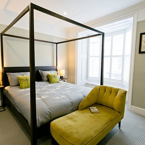 Boltholes and Hideaways Beau Townhouse master bedroom first floor bed shot