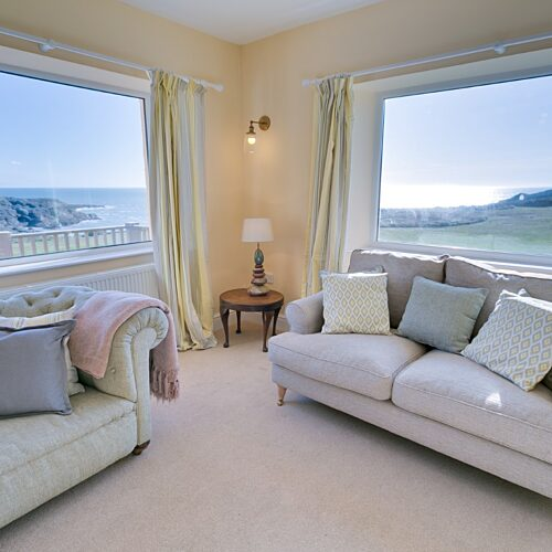 Boltholes and Hideaways Hafod Trearddur Bay Holiday Let Anglesey sofas and blue skies 1620